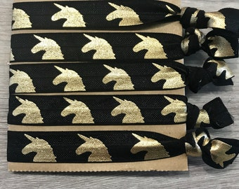 Magic unicorn hair ties - black