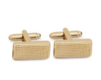 Rectange Textured Cufflinks in Pale Gold