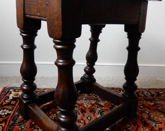 17th Century revival joined oak stool on baluster turned legs joined by stretchers
