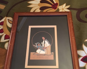 Archie Blackowl Signed Painting of Mother and Child