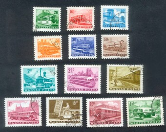 1963 Transportation Theme Hungarian Postage Stamps - Collage, Mixed Media, ATCs