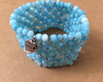 Blue and Silver Stretch Bracelet (6-7 inch)