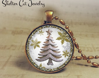 "Glittery White Christmas Tree Necklace - 1-1/4"" Circle Pendant or Key Ring - White Tree - Seasons Greetings - Holiday Present or Gift"