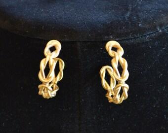 Gold Tone Knot Hoop Earrings