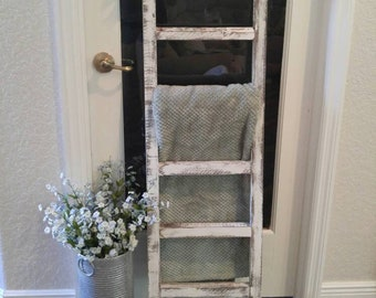 Rustic wooden blanket ladder, FREE SHIPPING, Real wood, Espresso handcrafted, customizable options from color to size, farmhouse decor