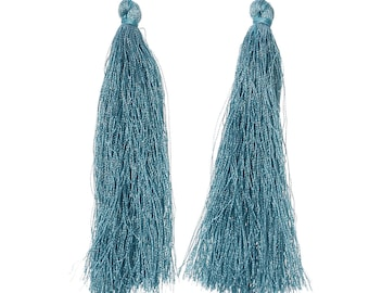 2 large 90mm peacock blue tassels