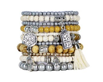 Beaded Bracelets Set of 11 Stretch Bracelets Bohemian Buddha Themed Stack with Silver Tone Charms and Tassel
