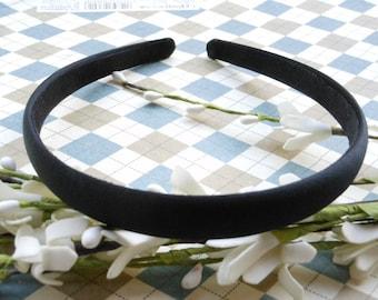 SALE--10 pcs 15mm Black Satin Headbands