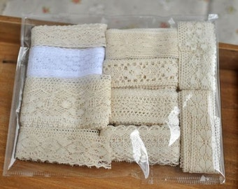 cotton lace fabric, antique lace fabric trim set, crochet lace fabric , trim lace