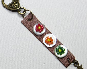 Keychain leather, Pearl, rock - #619