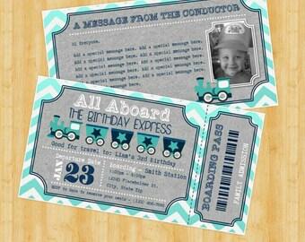Train Ticket Invitation - Train Ticket Invite - DIY Printable File