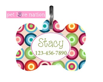 Personalized Pet Tag, Dog Tag, ID Tag, Geometric Dots Pet Tag With Name And Phone Number  -  #40