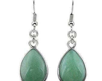 Earrings dangle drop silver plated - aventurine