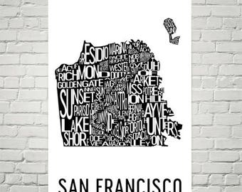 San Francisco Typography Neighborhood Map Art City Print, San Francisco Wall Art, San Francisco Art Poster, Gift, Map of San Francisco, Art
