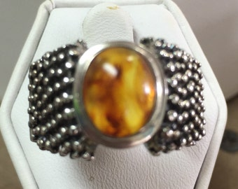 Amber Solitaire Ring set in Sterling Silver