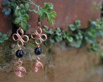 Ethnic, Bohemian earrings / clover / spiral, copper & Pearl black