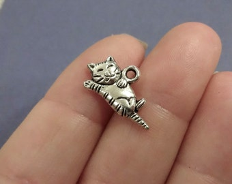 50 BULK, Sleeping Cat Kitten Charms (double sided) 20x11mm Item:M3