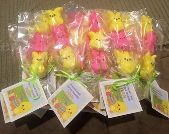 Set of 12 Personalized Favor Tags -Easter Chick -Thank You Tag -Gift Tag -Baby Shower -Birthday-Sticker-School treats -holiday -Peep