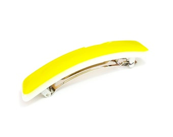 French Clip Hair Barrette, Yellow Art Glass, Large