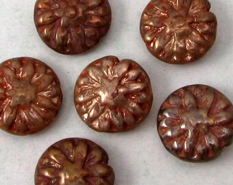 Glass Dahlia Flower Beads, Champagne, 14 MM, 6 Pieces, C548