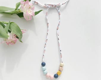 THE GRETA petite modern girls necklace, kids necklace, petite handpainted wooden bead necklace on fabric string