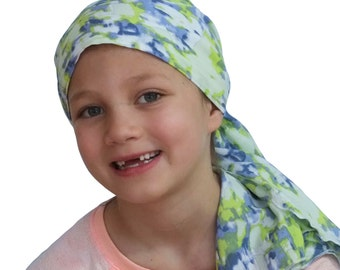 Ava Joy Children's Pre-Tied Head Scarf, Girl's Cancer Headwear, Chemo Head Cover, Alopecia Hat, Head Wrap, Hair Loss - Lime Green Waterfall