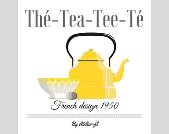 Poster vintage french design, old yellow kettle, french style poster