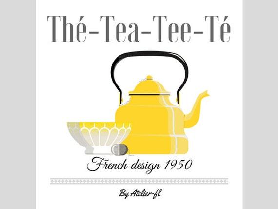 Affiche d coration vintage cuisine th me th ann es 50 jaune - Affiche cuisine retro ...