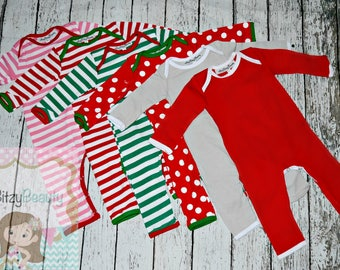 Personalized Christmas Pajamas - Full Piece Pajama - Newborn Christmas Pajamas - Full Piece Infant Pajama - Baby Christmas Romper