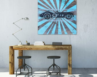 Vintage Race car painting- Free shipping in Canada