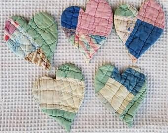 Quilt Hearts from Vintage Cutter Quilt - 5 Embellishment, Scrapbook, Heart, Valentine's, Folk Art, Repurposed
