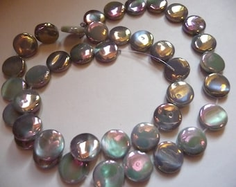 Bead, Mother of Pearl, Shell, Dyed, Coated, Silver, 10mm, Flat Round, Pack Of 10 beads.