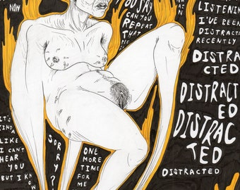 DISTRACTED illustration art piece
