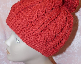 Handmade Crocheted Cable Knit Hat with Pom Pom