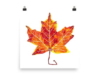 Autumn Maple Leaf / Art Print of Nature Watercolor Painting
