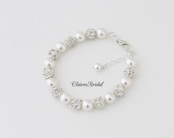 Wedding Bracelet Pearl Bracelet Wedding Jewelry Rhinestone Bracelet Bridal Jewelry