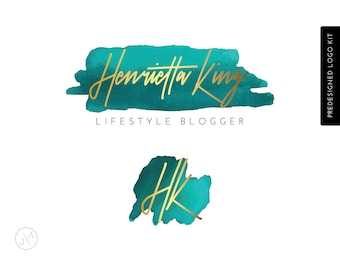 Premade Logo, Teal and Gold, Turquoise, Photographer, Beauty, Blogger, Initials Logo, Branding, Watercolour, Calligraphy Logo, Blog Header