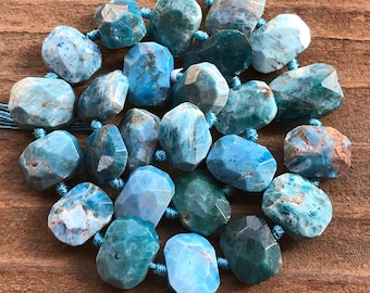 Apatite beads faceted rectangles natural stones gemstones half strand