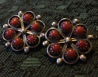 Coral and Silver Clip on Flower Earrings
