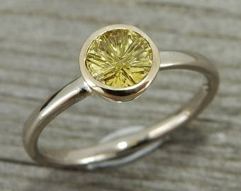 Yellow Sapphire Ring - Ethically Sourced, Designer Cut Sapphire - Recycled 18k Palladium White Gold & 14k Yellow Gold - size 6.25