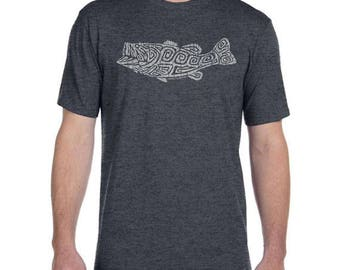 Largemouth Bass Design - Men's and Ladies Sizes Available - Dark Heather Grey T-Shirt - Fathers Day Gift - Angler - Gift for Fisherman