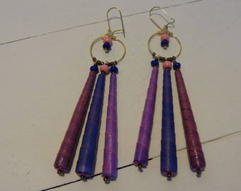 Ethnic earrings, large pendants, 3 elongated beads, recycled paper beads, mauve and purple.