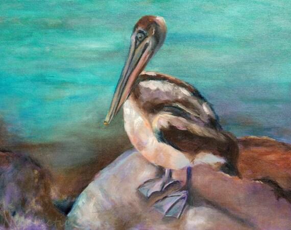 Pelican painting, Wall art, beach decor, pelican art for beach house, bird art, paintings of birds, beach life, ocean artwork, coastal art
