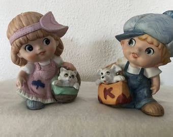 Homco 80s boy & girl figurines
