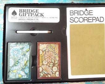 Vintage New Old Stock Bridge gift set ~ Card game 80s Floral Jewel tones Unopened Boxed