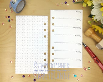 WO1 with Bullet Journal PRINTED UNDATED PERSONAL Planner Insert