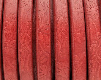 "BULK - Red Floral Embossed  - Licorice Leather - 10x 6mm Thick Leather Cord - 1M/39.4"" - Best Quality Cord Made in EU"
