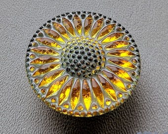 CZECH GLASS BUTTON: 32mm Handpainted Sunflower Czech Button, Pendant, Cabochon (1)