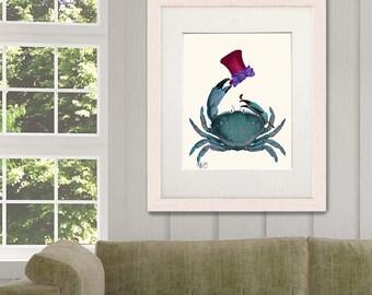 Crab Poster - The Dandy Crab - crab print nautical kids room decor nautical nursery crab decor nautical print funny Bathroom Wall Décor