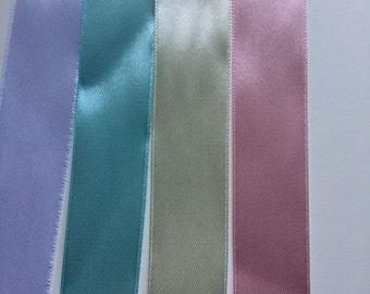 25mm Ribbon - Pastel Coloured High Quality 25mm Satin Ribbon - 1 inch Wide Ribbon - Price per 2 Metre - Ribbon per Meter